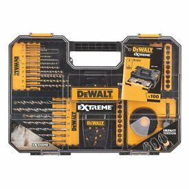** BRAND NEW DeWalt Hex Shank Combination Screwdriver, Drill & Holesaw Bit Set 100 Pieces **