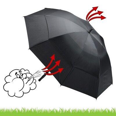 Deluxe-Golfschirm Windcutter - schwarz - mit Sturmgestänge aus Fiberglas ! NEU