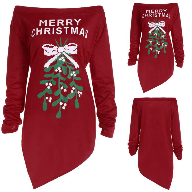 Women Xmas Print Letter Dress Ladies Christmas Tree irregular Party Tree Skirt