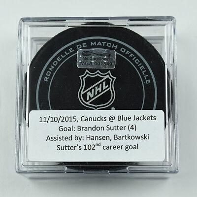 2015-16 Brandon Sutter Vancouver Canucks Game-Used Goal-Scored Puck -Hansen Ast.