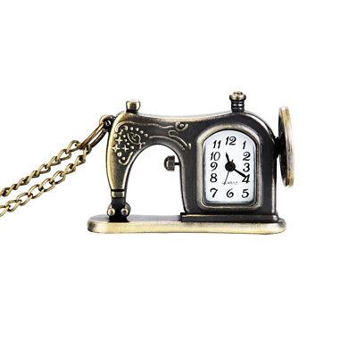 Chain Vintage Sewing Machine Design Pendant Alloy Pocket Watch Necklace