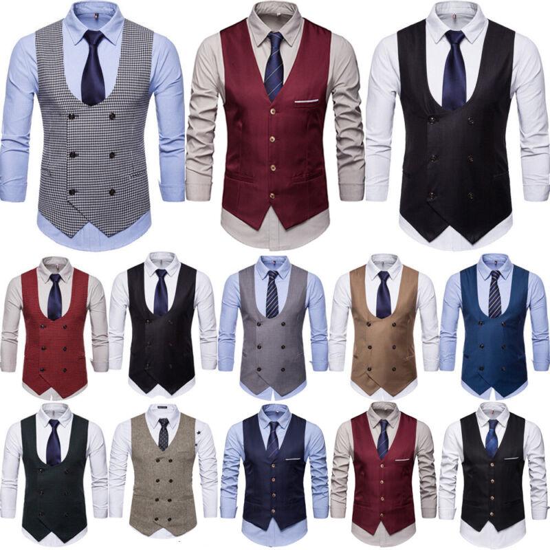 Herren Anzugweste Business Slim Weste Sakko Smoking-Anzug Ärmellos Mantel Jacke