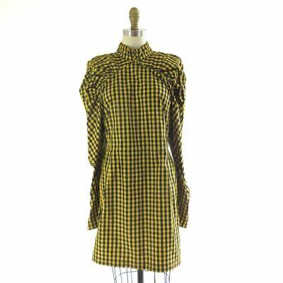 40 / 10 - Rotate Birger Christensen Yellow Gingham Puff Sleeve Dress NEW 0429LN
