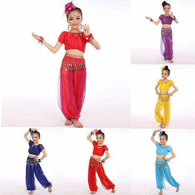 Kids Girls Professional Indian Dance Dresses Set Belly Dance Halloween Costumes ()