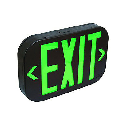 Green Black All Led Exit Sign Emergency Light Combo - Ul924 Fd3ng-b