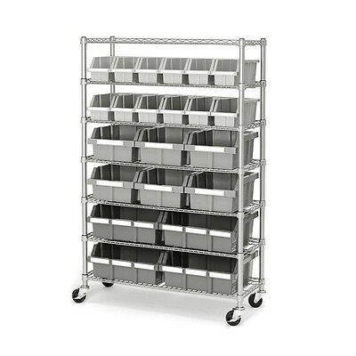 Heavy Duty Storage Rack 22 Bin Rolling Shelving Unit Steel Garage Organizer