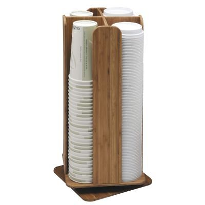 Cal-mil Revolving Lid And Coffee Cup Dispenser Natural Bamboo- 8sq X 18