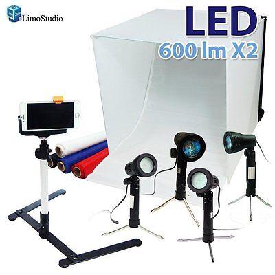 """24"""" Folding Photo Box Tent LED Light Table Top Photography Studio Kit"""