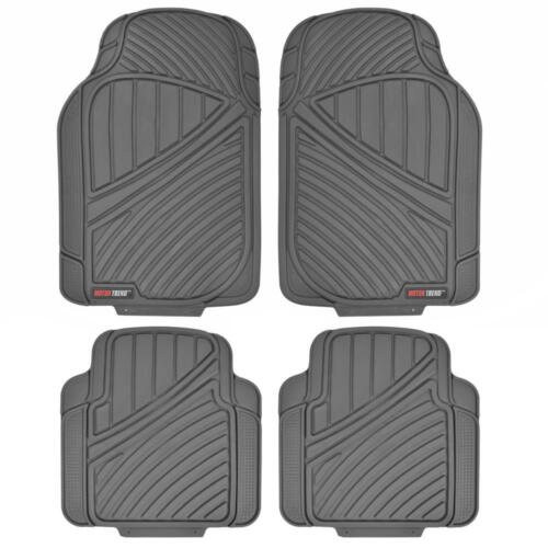 Motor Trend Rigid Rubber Floor Mat Heavy Duty Dirt Trapping Channels for Car