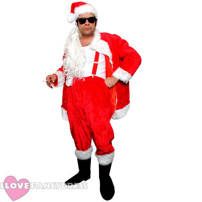 DELUXE NAUGHTY SANTA COSTUME FUNNY NOVELTY SLEAZY BAD FATHER CHRISTMAS - Bad Santa Kostüm