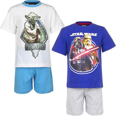 0eb4bc5540 NEU Pyjama Set Kurz Schlafanzug Jungen Star Wars weiß blau 104 116 128 140  #98*