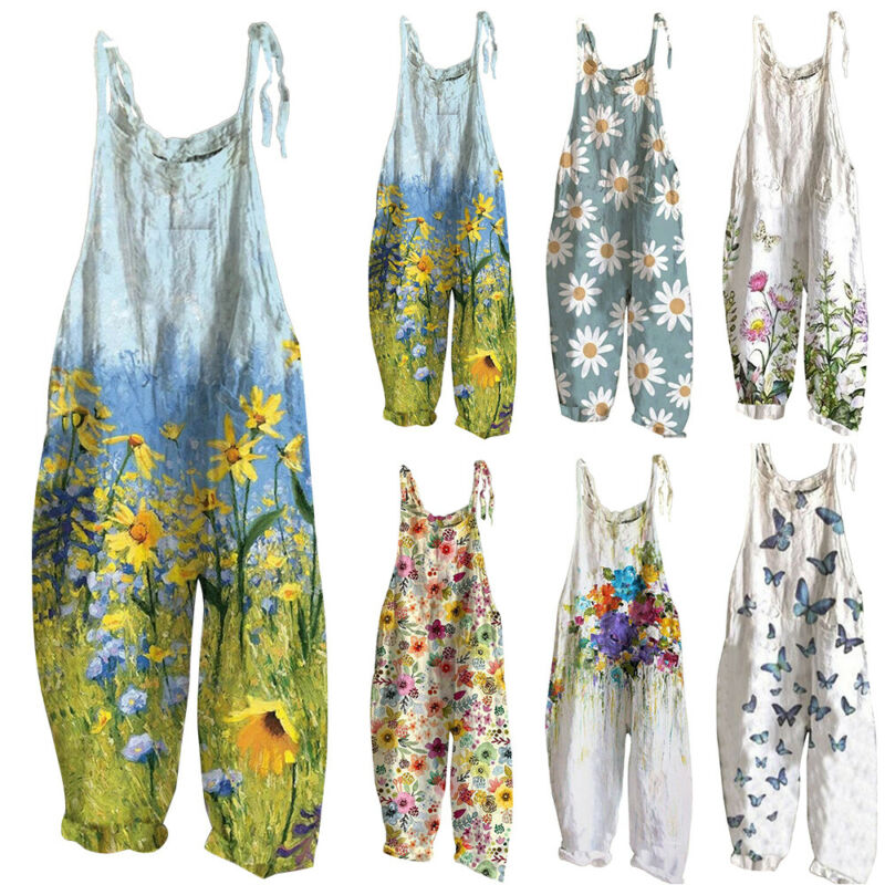 Women Boho Floral Jumpsuit Baggy Dungaree Ladies Summer Romper Playsuit Overalls Clothing, Shoes & Accessories