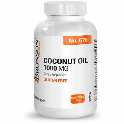 Gluten Free Oils - Bronson Organic Coconut Oil GLUTEN FREE 1000 mg, 120 Softgels