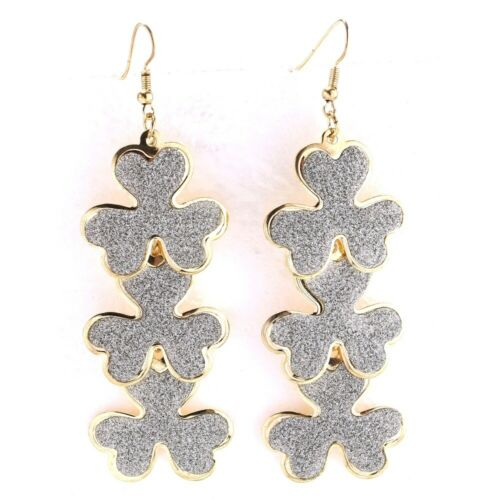 Alloy Triple Gold Colored Shamrock Earrings with Silver Glitter Coating