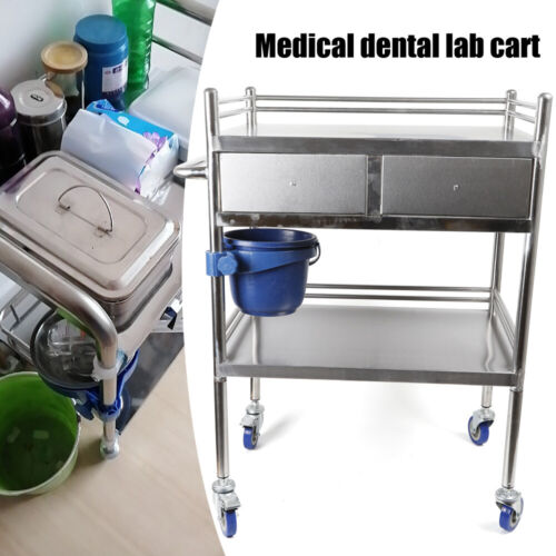 2 Layers Stainless Steel Hospital Medical Dental Lab Trolley Cart & Drawer 9