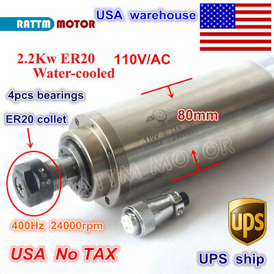 Us Ship2.2kw Water Cooled Spindle Motor Er20 110v 24000rpm 80mm For Cnc Router