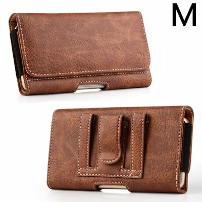SAMSUNG GALAXY S5 / S6 / S7  - Brown Leather Pouch Holder Belt Clip Holster Case