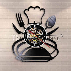 Spoon Fork Knife Vintage Kitchen Wall Decor Vinyl Record Wall Clock Modern Gift