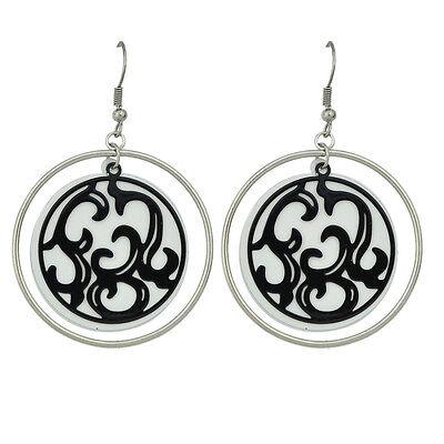 Mode Kostüm Schmuck Silber Weiß Schwarz Ornament Tropfen-Ohrringe E1070