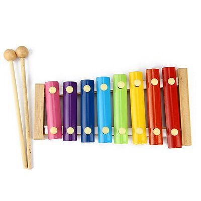 Xylophone Kids Baby Toy Wooden Musical Instrument Piano Mallets 8 Notes USA FAST