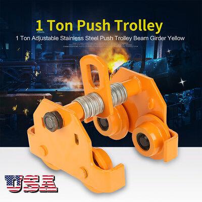 1 Ton2200 Lbs Pull Capacity Adjustable Push Trolley Beam Girder Precision Tool