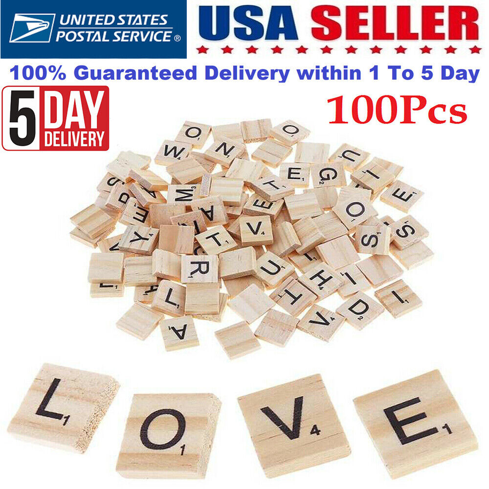 100 Pcs Wood Scrabble Tiles - New Scrabble Letters - Wood Pi