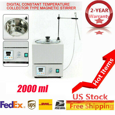 Magnetic Stirrer With Heating Plate Digital Hotplate Mixer Stir Bar 2000 Ml