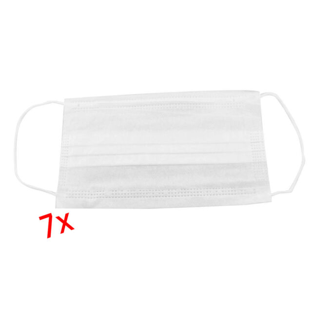 New 7Pcs White Surgical Medical Mouth Face Protective Mask PK