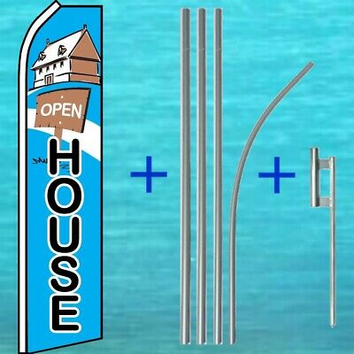 Open House Flutter Flag Pole Mount Kit Real Estate Feather Swooper Banner Sign