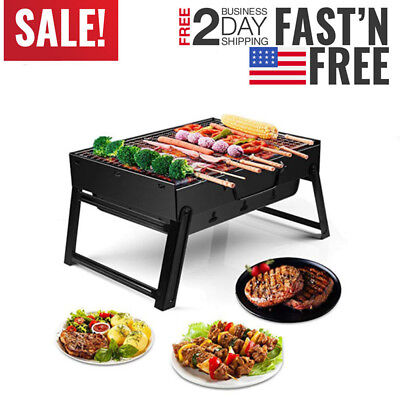 Portable Charcoal BBQ Grill Folding Barbecue Shish Kabob Stove Camping Outdoor