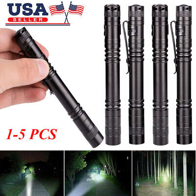 5×LED Flashlight Cree XPE-R3 Clip Mini Penlight Portable Torch Lamp for Camping