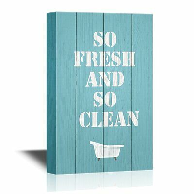 wall26 - Bathroom Canvas Wall Art - So Fresh and So Clean Quotes - 16x24 inches