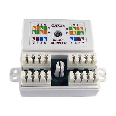 RJ45 Cat5e Inline Punchdown Krone Coupler Cable Network Ethernet Joiner WHITE