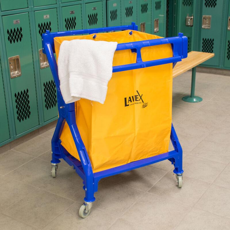 10 Bushel Commercial Heavy Duty Plastic Rolling Laundry Cart / Trash Cart
