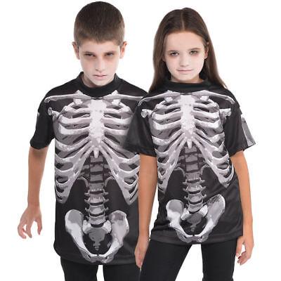 Skelett T-Shirt Shirt Gr. 134 Karneval Mädchen Jungen neu Kostüm Kinder