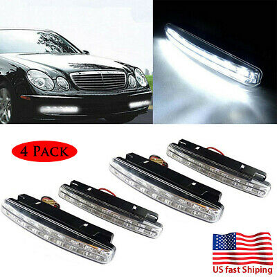 4x 8 LED 12V Daytime Running Lights Car Driving DRL Fog Light White Bright Lamps