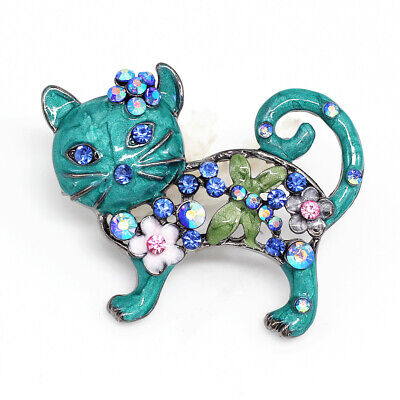 Betsey Johnson Sea Blue Enamel Crystal Cute Cat Kitten Charm Animal Brooch Pin