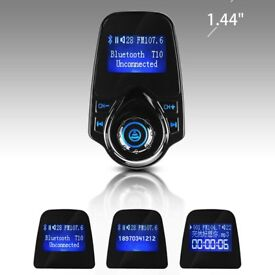 Bluetooth in-car transmitter adaptor and charger handsfree calls! Sd card,aux
