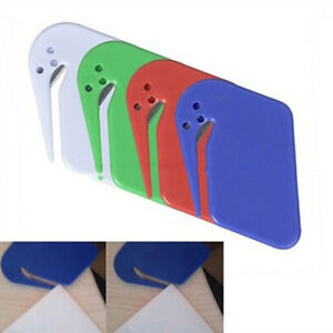 Letter Opener Office Envelope Cutter Safe Guarded Sharp Plastic Stainless Steel