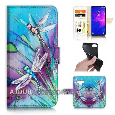 ( For Samsung Note 9 ) Wallet Flip Case Cover AJ21094 Blue Dragonfly -