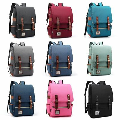 Leather Canvas Backpack Men Women Laptop Bag Rucksack Satchel School Travel Bag