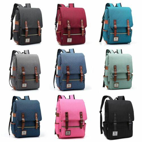 Leather Canvas Backpack Men Women Laptop Bag Rucksack Satche