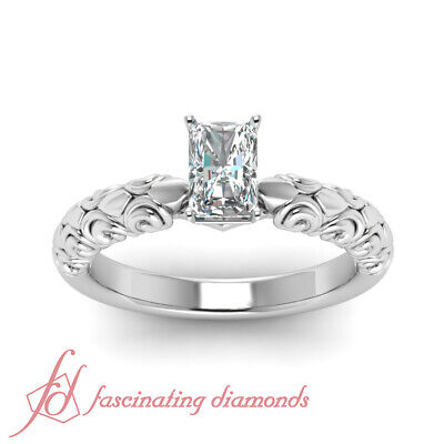 .60 Ct Radiant Cut Diamond Solitaire Filigree Engagement Ring In Platinum GIA 1