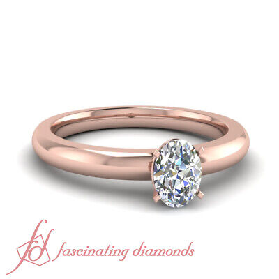 .40 Ct Rose Gold Oval Cut Diamond Solitaire Engagement Rings Cheap GIA Rings