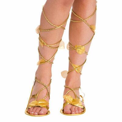 Damen Römisch Griechisch Gold Sandalen Ägyptische Gut Göttin Toga - Göttin Kostüm Schuhe
