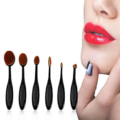 6PCS Makeup Brushes Oval Cream Puff Toothbrush Set Shaped Power Foundation Tools