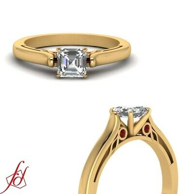 1 Ct Asscher Cut Yellow Gold Diamond Rings With Bezel Set Round Ruby Accents GIA