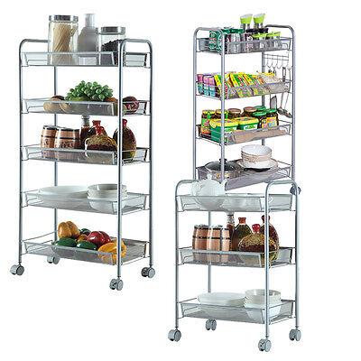 3/4/5 Layer Rack Shelf Shelving Rolling Kitchen Pantry Storage Utility Cart US ()