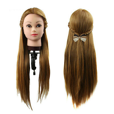 Long 30% Real Human Hair Hairdressing Equipment Styling Head Doll + Clamp