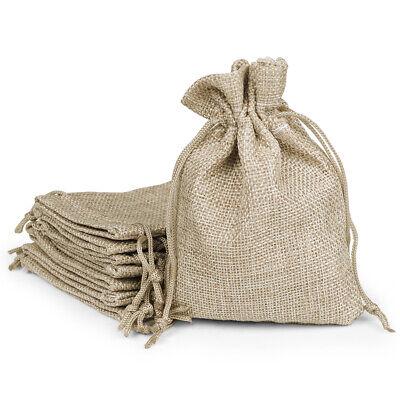 Burlap Wedding Favor Bags (25x Natural Linen Burlap Bags w/ Drawstring Gift Bag Jewelry Pouch Wedding)